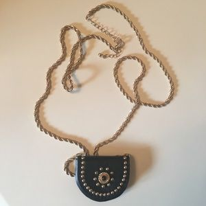 Forever 21 Long Gold Studded Necklace with Locket